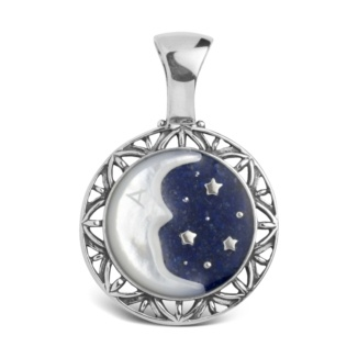 Lapis and Mother of Pearl Moon Pendant