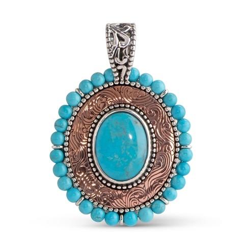 Turquoise Beaded Copper Pendant