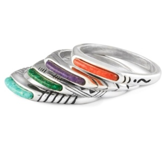 Channel Inlay Stacking Ring Set