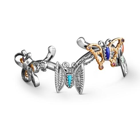 Sterling Silver and Brass Multi Gemstone Butterfly Symphony Cuff Bracelet