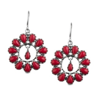 Native Cultures Red Coral Cluster Earrings