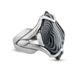 Night Jazz Black Striped Agate Bold Ring