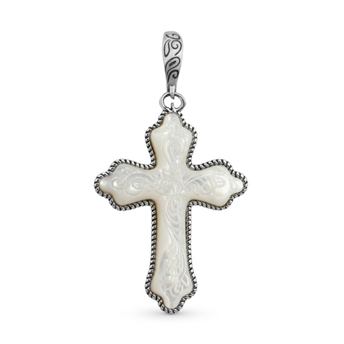 Carved White Mother Of Pearl Cross Pendant Enhancer