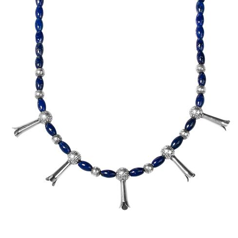 Lapis Squash Blossom Beaded Necklace