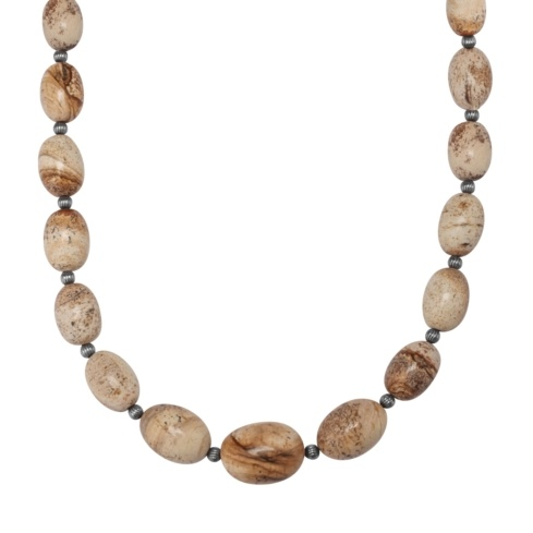 Graduated Picture Jasper Beaded Necklace