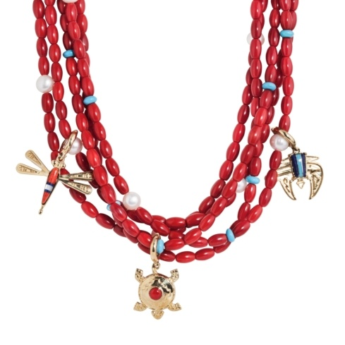 Sterling Silver, Red Coral, Brass Charm, Five-Strand Necklace 17 to 21 Inch