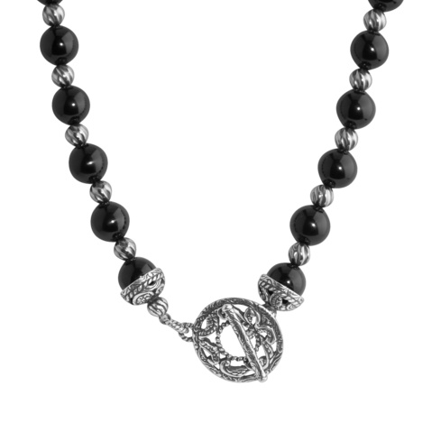 Silver Rodeo Sterling Silver and Onyx 17