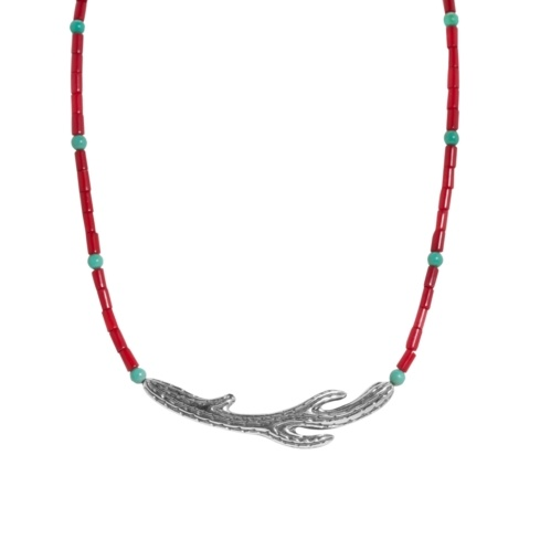 Sterling Silver Beaded Cactus Necklace