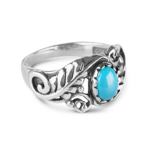 Sterling Silver Sleeping Beauty Turquoise Gemstone Leaf Ring Size 5 to 10