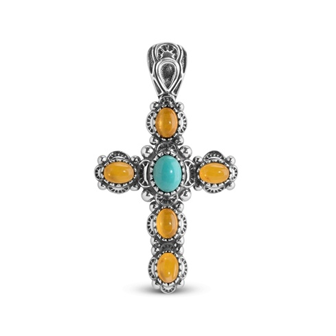Turqouise And Amber Cross Pendant Enhancer
