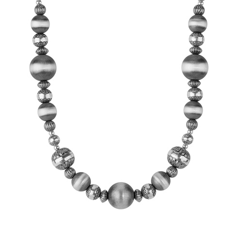 American West Sterling Silver 17-inch Stamped Bead Necklace