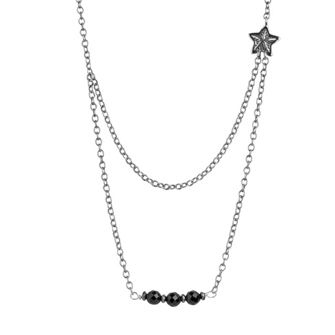 Sterling Silver Black Agate Double Layer Star Necklace 24 Inch