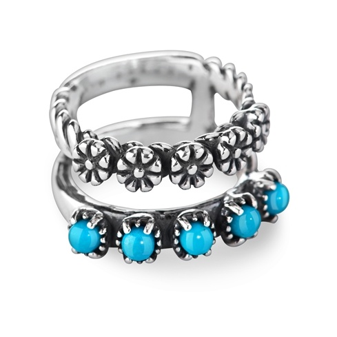 Sterling Silver Blue Turquoise Gemstone 5-Stone Split Band Flower Ring Size 5 to 10