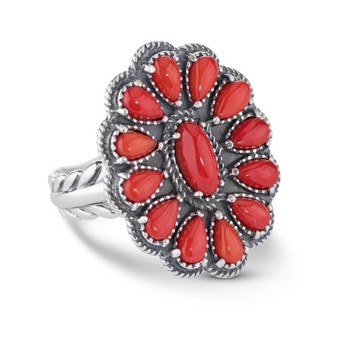 Red Coral Cluster Design Sterling Silver Ring