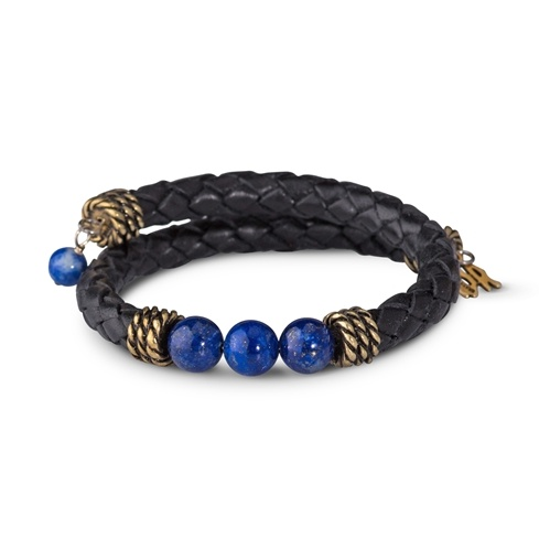 Leather Lapis Coil Bracelet