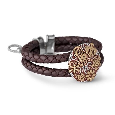Jody Naranjo Sterling Silver Brass Pottery Design Braided Leather Bracelet