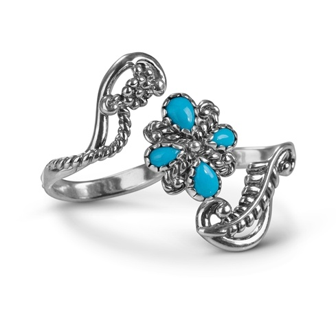 50ffa37c588faf Sleeping Beauty Turquoise Sterling Silver Double Finger Ring ...