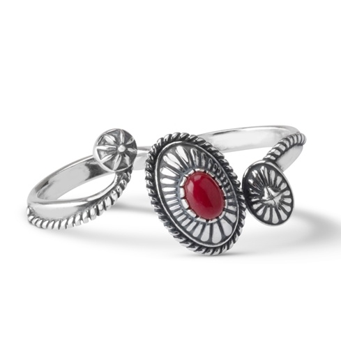 American West Sterling Silver Coral Double Finger Concha Ring
