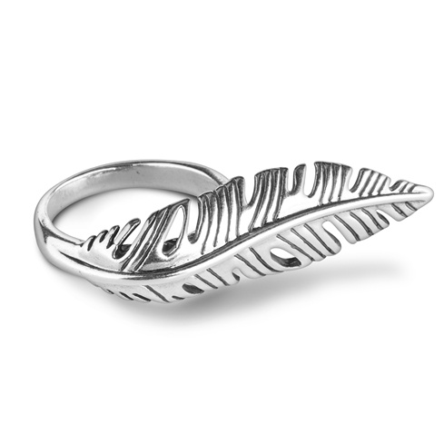 American West Sterling Silver Elongated Feather Ring