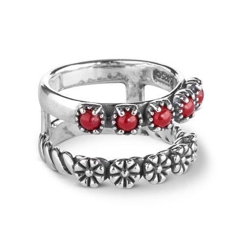 Sterling Silver Coral Double Band Flower Ring