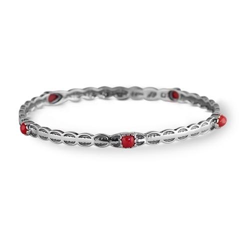 Sterling Silver Red Coral Bangle Bracelet
