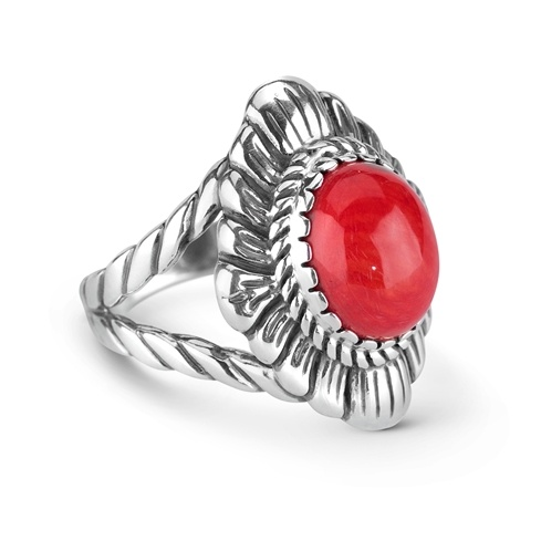 Sterling Silver With Sea Bamboo Concha Ring