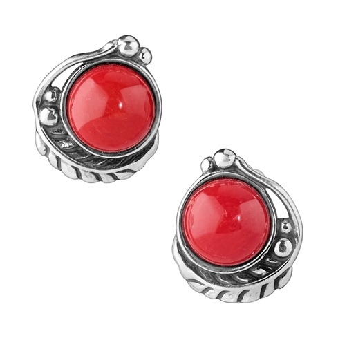 Sterling Silver Coral Button Earrings