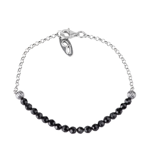 Jennifer Nettles Sterling Silver Black Spinel Bead Bracelet (Size: Average)