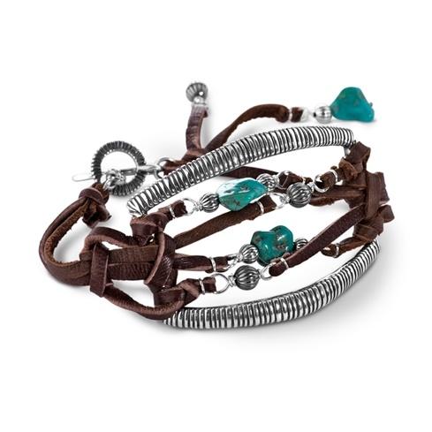 Jennifer Nettles Leather & Sterling Silver Turquoise Bead Bracelet