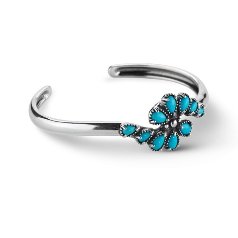 American West Sleeping Beauty Turquoise Cluster Cuff Bracelet
