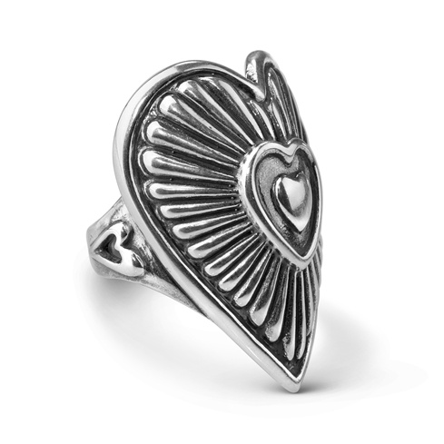 Sterling Silver Bold Heart Ring Size 5 to 10