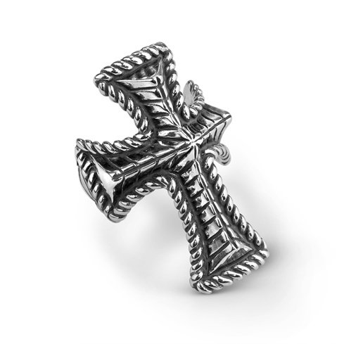 Sterling Silver Domed Rope Rib Cross Ring Size 5 to 10