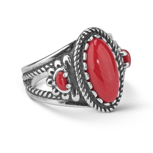 Sterling Silver Red Coral Gemstone 3 Stone Flower Ring Size 5 To 10