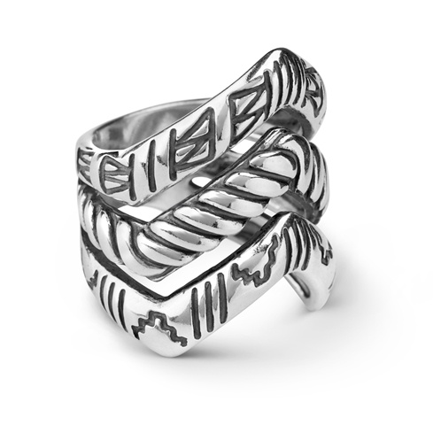 Sterling Silver Three Row Textured Chevron Ring Size 5 to 10