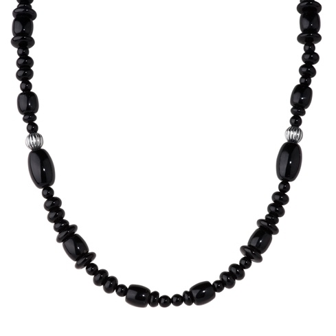 17 Black Agate Beaded Necklace