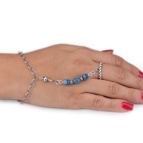Lapis Chain Bracelet And Ring (Size: 9)