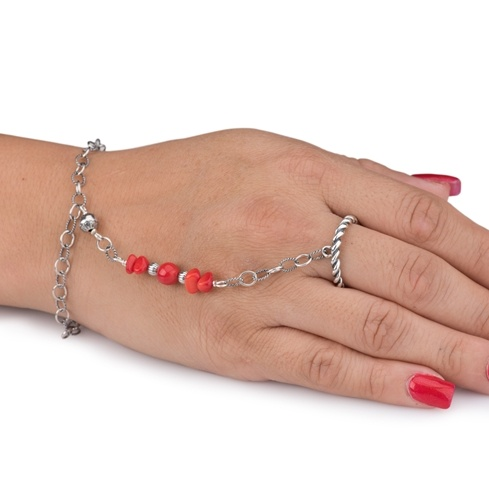 Red Coral Chain Bracelet And Ring