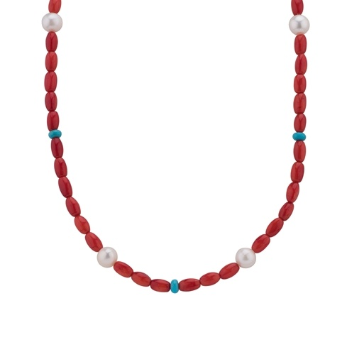Red Coral 17 Beaded Necklace
