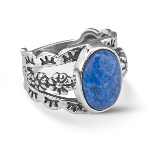 Sterling Silver Blue Denim Lapis 3 Split Shank Floral Ring Size 5 to 10