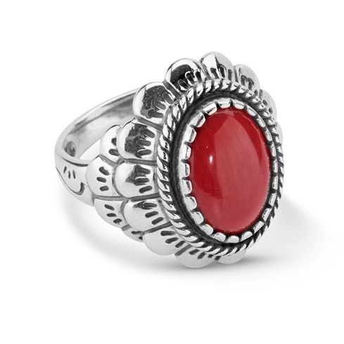 Sterling Silver Red Coral Oval Scallop ring