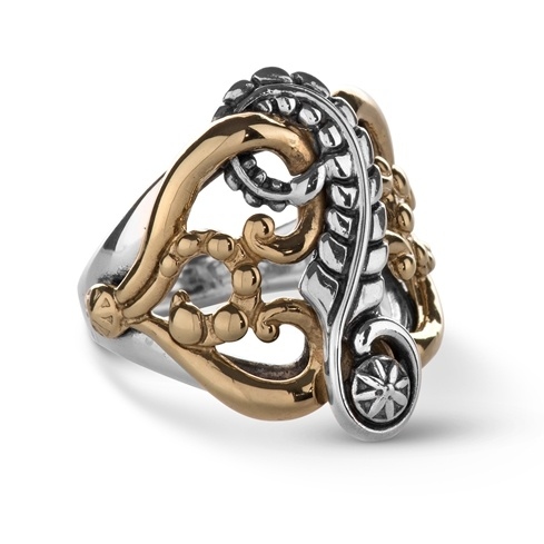 Sterling Silver Brass Scrolling Leaf Vine Design Ring Size 5 to 10