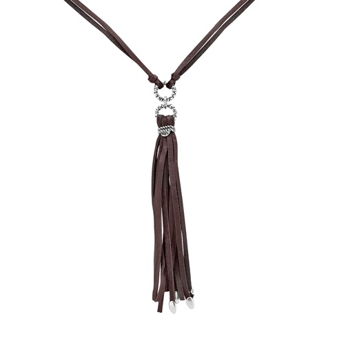 Sterling Silver Brown Gemuine Leather Tassel Necklace 18 Inch