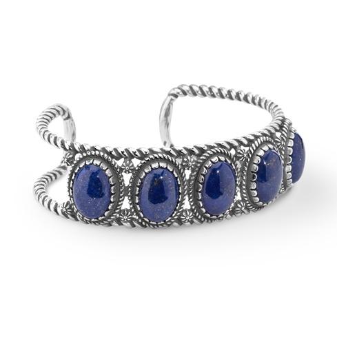Sterling Silver & Lapis Five Stone Cuff Bracelet