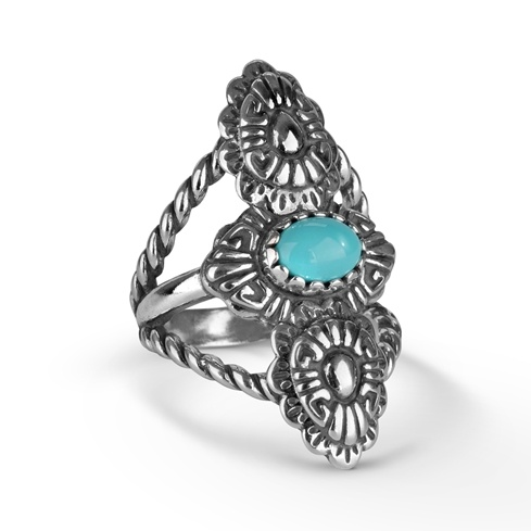 Sterling Silver Turquoise Concha Rope Ring Size 5 to 10