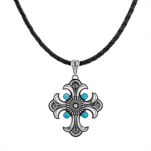 Black Leather Cord Turquoise Cross Pendant
