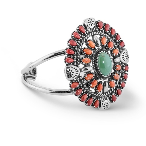 Sterling Silver Green Turquoise, Orange and Dark Red Spiny Oyster Gemstone Cluster Cuff Bracelet Sizes S, M or L