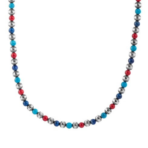 Sterling Silver Red Coral, Blue Turquoise, Blue Lapis Silver Native Pearl Beaded Necklace 17 to 20 Inch