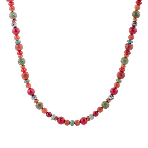 Sterling Silver Coral and Turquoise Bead Necklace 17 to 20 Inch
