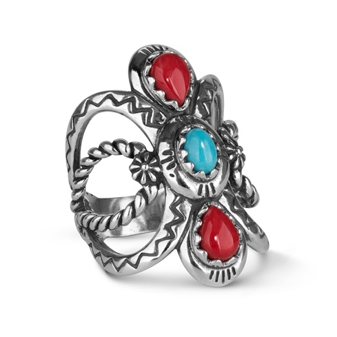 Sterling Silver Blue Turquoise and Red Coral Bold Ring Size 5 to 10