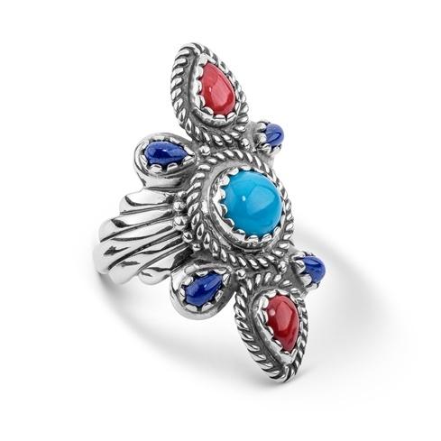 Multicolor Scalloped Bold Ring